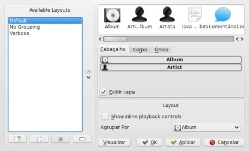 amarok - editor de layout da playlist